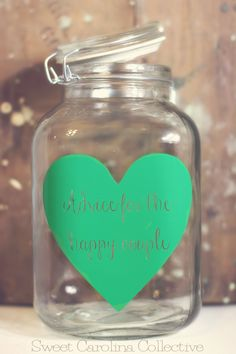 DIY Wedding Table Idea - Advice Jar for the Bride and Groom with Emerald Green Heart. via Etsy - I would change the color of the heart and I would have one at each table :) Wedding Table, Fall Wedding, Diy Wedding, Dream Wedding, Wedding Reception, Wooden Wedding Signs, My Sun And Stars, Wedding Advice, Wedding Stuff