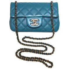 Preowned Chanel Teal Leather Extra Mini Classic Flap Shoulder Bag ($3,800) ❤ liked on Polyvore featuring bags, handbags, shoulder bags, green, structured shoulder bags, mini shoulder bag, blue shoulder bag, quilted leather handbags, green leather handbag and blue leather handbags