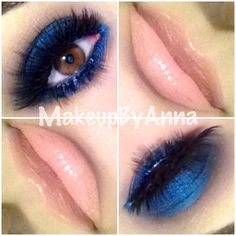EYES NYX jumbo pencil in cobalt as a base with MAC deep truth, haux and carbon eyeshadows with red cherry lashes #523 and #74 (doubled) on top. LIPS  MAC stripdown lip liner and shiseido lipstick # BE 208 #lashes #lips #mac #makeup #blue #nudelips #smokey #makeupbyanna - @Krista McNamara Lahaye Garcia By Anna- #webstagram