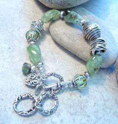 Green Semi precious Stone and Lampwork Bracelet Heavy by Jewelbox2, $28.00