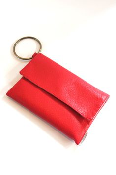 Red Wristlet, Vegan Clutch Purse, Casual Evening Purse, Small Handbag, Evening Clutch