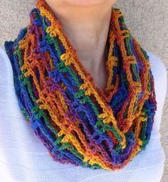 Rainbow Bright Crochet Cowl Scarf Neck Warmer by LolasWonders, $49.00