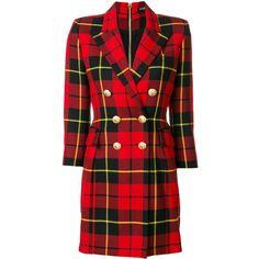 Balmain tartan blazer dress (€3.240) ❤ liked on Polyvore featuring dresses, red, long sleeve embellished dress, long sleeve plaid dress, button dress, long sleeve short dress and short dresses