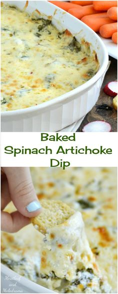 Baked Spinach Artichoke Dip -- an easy, creamy, cheesy game day or holiday appetizer. Perfect for Thanksgiving, Christmas, parties or game day too!
