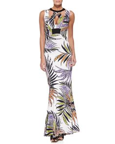 Paradise Sunrise-Print Cutout Gown, White - Just Cavalli