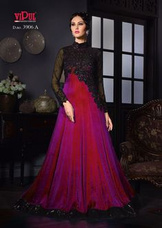 Ethnic Salwar kameez Indian Anarkali Dress Designer Bollywood Pakistani K VPL 03 Silk Evening Gown, Silk Gown, Satin Gown, Silk Satin, Red Silk, Designer Gowns, Indian Designer Wear, Saree Wedding, Wedding Wear