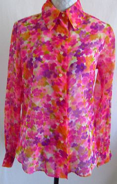NWT Vtg LA BAROQUE LADY ARROW 60s 70s Sheer Floral Print M L Shirt Purple New