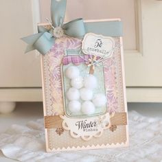"""Use sparkly pompoms as snowballs in card that uses Papertrey Ink's   """"Friendship Jar Holiday Fillers"""" stamp set"""