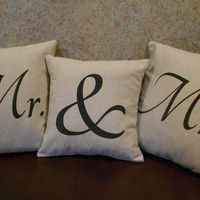 Mr & Mrs pillow covers - Set of 3 natural linen look  pillow covers handpainted in black