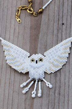 White Owl Bead-Woven Necklace - Seed Bead Necklace - White and Gold Choker Length Beaded Necklace Seed Bead Patterns, Beaded Jewelry Patterns, Beading Patterns, Owl Patterns, Seed Bead Necklace, Seed Bead Jewelry, Seed Beads, Owl Necklace, Beaded Necklace