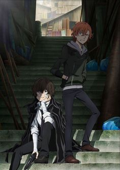 Chuuya e Dazai Bungou Stray Dogs Chuya, Stray Dogs Anime, Manga Anime, Anime Art, Dog Wallpaper, Bungou Stray Dogs Wallpaper, Dog Art, Anime Characters, Detective