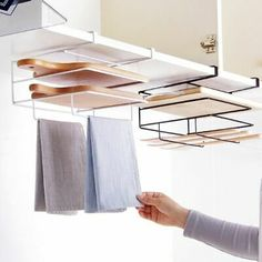 Under Counter Multi-functional Organizer-Lids/Towel Rack/Cutting Board Storage Accessory Towel Organization, Kitchen Organization, Kitchen Storage, Organization Ideas, Kitchen Hooks, Medicine Organization, Modern Kitchen Cabinets, Kitchen Furniture, Diy Kitchen