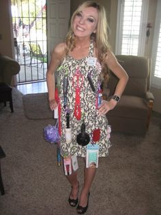Bridal shower game. Bride walks around for one minute wearing the apron. Guests memorize the items on the apron. The most memorized wins