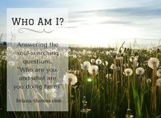 """Who Am I?  A new devotional dealing with the questions, """"Who are you, and what are you doing here?"""" from Briana-Thomas.com"""