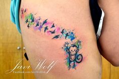 Javi Wolf Tattoo- monkey and birds,watercolor Monkey Tattoos, Wolf Tattoos, Skull Tattoos, Animal Tattoos, New Tattoos, Body Art Tattoos, Tatoos, Tattoo Drawings, Elephant Tattoo Meaning