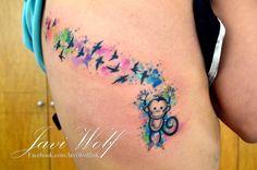 Watercolor Monkey Tattoo.  Tattooed by @javiwolfink  www.facebook.com/javiwolfink