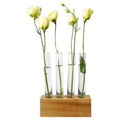 Experiment with your daily decor with this test tube flower vase. It features four glass test tubes mounted on a solid white walnut wood base. Made in Brooklyn by Moss & Twig.