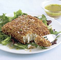 Almond-Crusted Halibut  I love halibut, I love almonds, and I think that the two with lemon are a perfect marriage!  Now I just have to find the halibut!