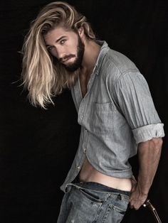 AUSTIN DAVIS. I love his complete look, denims, denim shirt, his long hair and full beard.