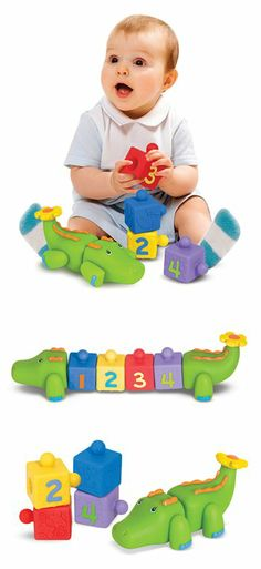Snap! goes the crocodile. Pop! go these knobbed soft blocks as they connect to build a colorful block chain . . . and one cute croc!