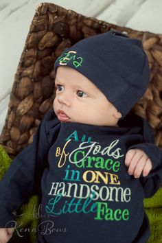 New Baby Gown: Newborn Navy Boy Outfit Gods Grace in by KenaBows
