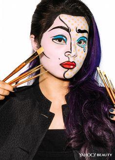 Yahoo Beauty Editor inspired by Roy Lichtenstein's Crying Girl. (Photo: Ben Ritter / Makeup: Fatima Thomas for MAC / Hair: Nate Rosenkranz using Alterna ...