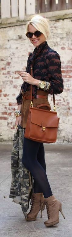 Shorts with tights and heels, fabulous! Women's street style fashion outfit for fall and winter
