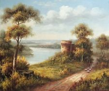 Italian Castle River Town Oak Trees Sheep Shepherd Stretched 20X24 Oil Painting