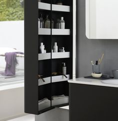 Stylish shelves with a front edge The spacious aluminium shelves offer you a great overview with plenty of room. Rum, Shower Enclosure, Bathroom Furniture, Bathroom Medicine Cabinet, Shelves, Lighting, Stylish, Home Decor, Bathing