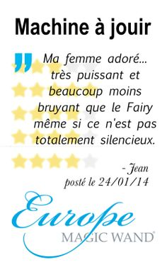 """Ma femme adoré...très puissant et beaucoup moins bruyant que le fairy même si ce n'est pas totalement silencieux."" - Jean, 24/01/2014, french owner of #EuropeMagicWand wand massager. #8outof10 stars for @EuropeMagicWand. Get more info at www.europemagicwand.fr"