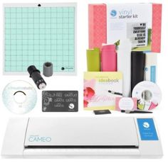 Silhouette Cameo Electronic Cutting Machine Vinyl Starter Kit Bundle This kit will allow you to create many projects right from the start! The Silhouette CAMEO Silhouette Cameo Vinyl, Free Cover, Craft Cutter, Thing 1, Cricut Tutorials, Vinyl Cutter, Sewing Stores, Starter Kit, Starters
