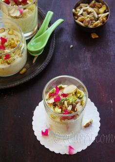 Kheer (Indian Rice Pudding with Cardamom, Pistachios, Saffron & Rosewater) http://www.ecurry.com/blog/desserts-sweets/kheer-indian-rice-pudding-with-nuts-and-saffron/#