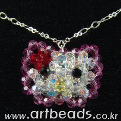 hello Kitty necklace of beading Bead Crafts, Diy And Crafts, Cat Necklace, Craft Shop, Bead Art, Design Crafts, Pendants, Beads, Creative