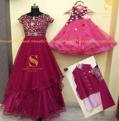 Beautiful mom and daughter duo. wine color floor length layered dress with blush pink color kids layered dress. both with hand embroidery mirror work. 02 March 2018
