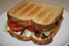 Vegan Shitake Mushroom Bacon, Lettuce, Tomato, & Avocado Sandwich Recipe .....     Vegan..., bacon? Okay.