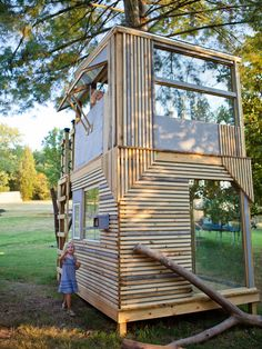 Would love to find someone to build a playhouse like this out of recycled materials!