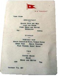 White Star Line S.S. Celtic third class menu...1917.