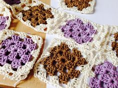 Granny squares (lilac and brown) 2