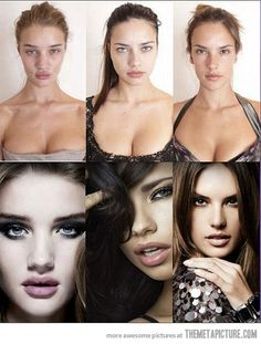 Victoria's Secret models w/o #photoshop or makeup. Comparing yourself to photoshopped images of people who don't even look the way they look in pics, in real life, isn't realistic. btw, top left.. did she get lip injections??