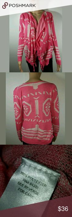 Tribal Print Open Cardigan Fringe Sweater Tribal Print Open Cardigan Fringe Sweater Pink White Small  Excellent used condition.   22 inches pit to pit.  25 inches long.    LB T/O Sweaters Sweaters Cardigans