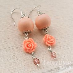 Sweet romantic rose earrings, tangerine, soft pink and sterling silver