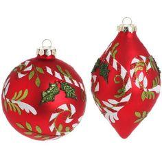 "5"" Glass Peppermint Holly Ornaments  Price : $26.95 http://www.perfectlyfestive.com/RAZ-Imports-Glass-Peppermint-Ornaments/dp/B00CXHKWHE"