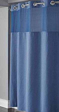 Hookless Moonlight Blue Diamond Pique Mystery Shower Curtain
