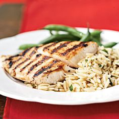 grilled fish with orzo pasta salad