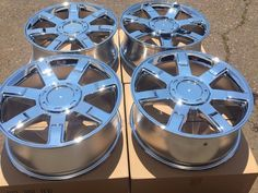 "Cool Awesome SET OF FOUR 22"" CHROME WHEELS RIMS FITS CADILLAC ESCALADE EXT ESV BRAND NEW 2017 2018 Check more at http://24cars.cf/my-desires/awesome-set-of-four-22-chrome-wheels-rims-fits-cadillac-escalade-ext-esv-brand-new-2017-2018/"