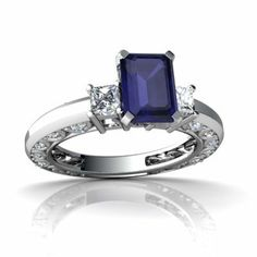 14K White Gold Emerald-cut Genuine Sapphire Engagement Ring Jewels For Me. $1149.00