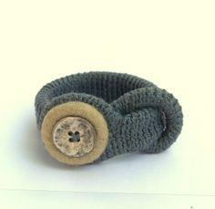 Crochet bracelet  grey sandy with button textile felted door astash, $26.00