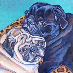 Custom Pet Portrait Painting in Acrylic on 12 x 12 Canvas of Two Dogs Cats Rabbits or Other Animals. Ready to Hang painted sides OOAK Pugs And Kisses, Pug Art, Black Pug, Pug Puppies, Two Dogs, Dog Portraits, Portrait Paintings, Pug Love, Animal Paintings