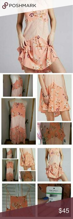 NWT - Sz lg Free People peach Crescent slip 100% Rayon Absolutely gorgeous  Soft and flowy Free People Dresses Mini