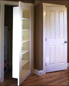 hidden passage, (storage) for the home. Love this idea!